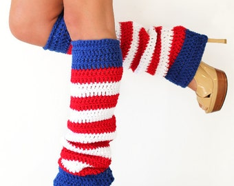 American Flag Leg Warmers - Red, White, and Blue Striped Leggings