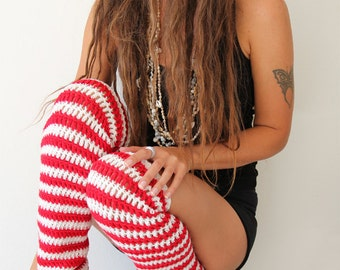 Pirate Stripe Leg Warmers - Thigh High Leggings in Red and White Stripes