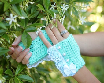 Fingerless Gloves - Mint Wrist Warmers with Pearls and Lace - Romantic Victorian Style Accessories
