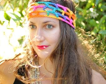 Rainbow Hippie Headband - Boho Style Women's Hair Bands - Bohemian Fashion Accessories - Summer Hair - Festival Style Headbands