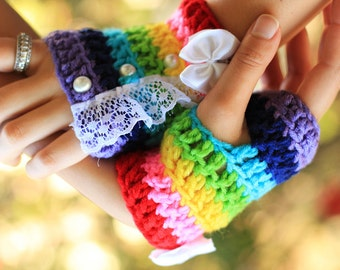 Rainbow Fingerless Gloves - Kawaii Fashion Accessories - with Lace and Pearls