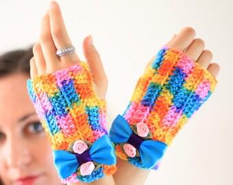 Neon Rainbow Fingerless Gloves - Spring Fashion Accessories