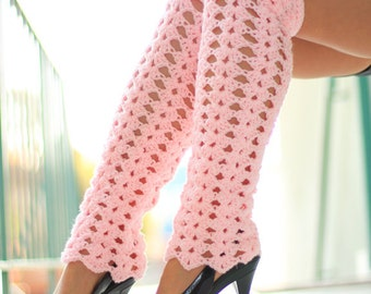 Lacy Leg Warmers - Thigh High Pastel Pink Leggings by Mademoiselle Mermaid - Lots of Colors