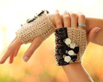 Fingerless Gloves in Cafe Au Lait Crochet with Black Lace - Neo-Victorian