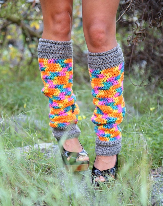 Crochet Leg Warmers in Neon Rainbow Print