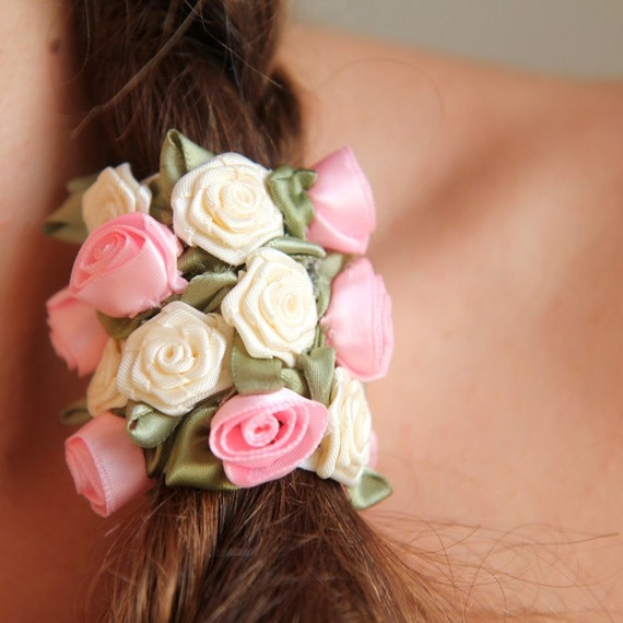 Pink and Ivory Rosette Hair Band by Mademoiselle Mermaid