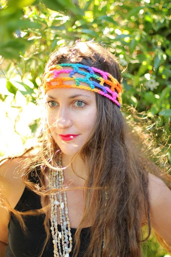 Rainbow Crochet Hippie Headband