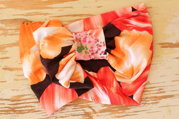 Turban Headband in Tropical Large Scale Floral  Print