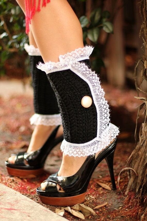 Victorian Style Leg Warmers - Crochet and Lace Spats in Black - Steampunk Accessories - Lots of Colors