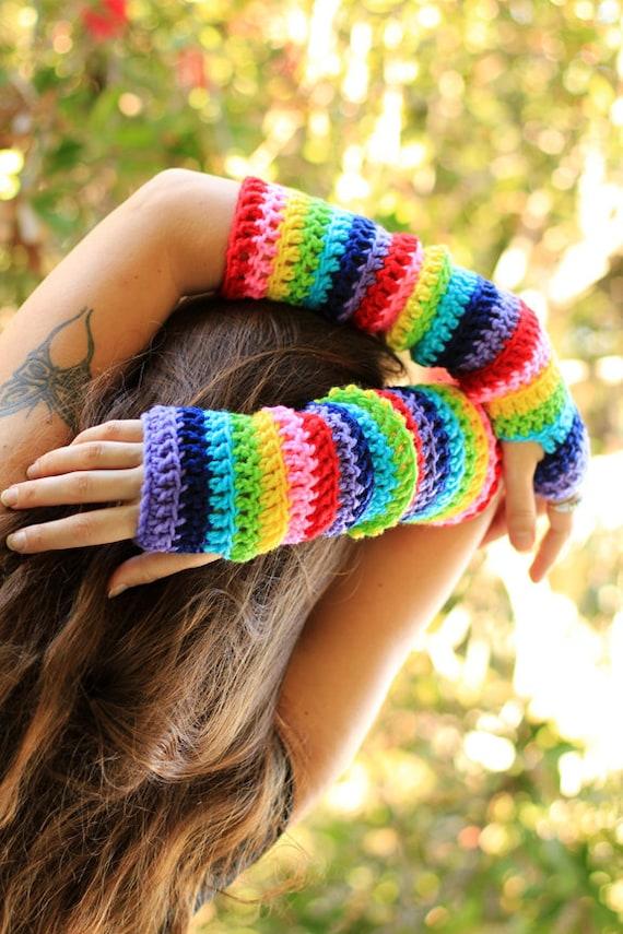 Arm Warmers in Rainbow Stripes by Mademoiselle Mermaid