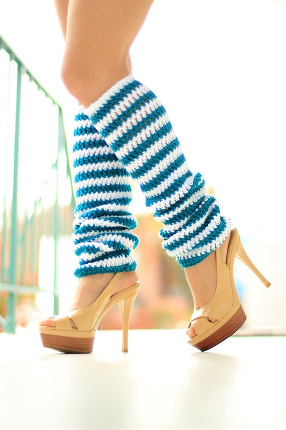 Leg Warmers in Teal and White Nautical Stripes - Striped Crochet Leggings
