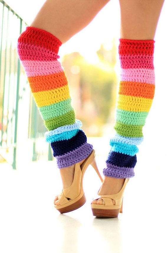 Double Rainbow Leg Warmers - Over The Knee - Kawaii Fashion Leggings