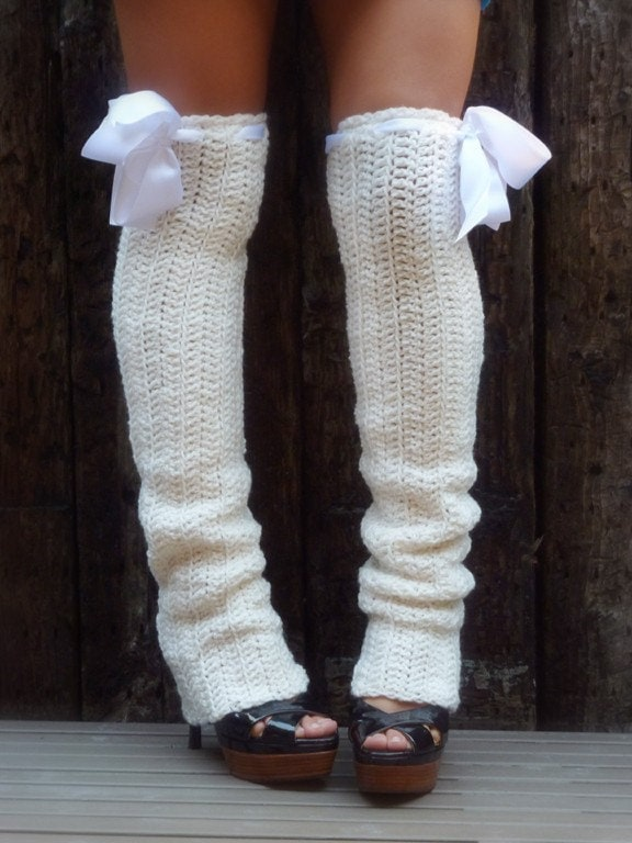 Knitting Pattern For Thigh High Leg Warmers : Thigh High Leg Warmers Soft White Extra Long