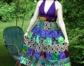 Funky Colorful Hippie Festival dress - Batik - Wax prints - Crocheted bodice