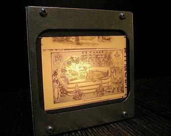 HINDU IDOL and his ATTENDANTS Vintage magic lantern glass slide light box