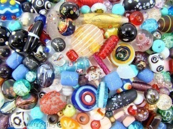 GORGEOUS LAMPWORK FLOWER, BUMPY, CZECH, FOIL, MILLEFIORI GLASS BEADS MIX LOT ASSORTMENT  smp 722