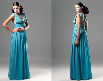 Turquoise Greek Goddess by Veronica Reis, available in sizes 2-14