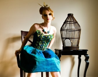 Peacock cocktail dress by Veronica Reis available in sizes 2-14