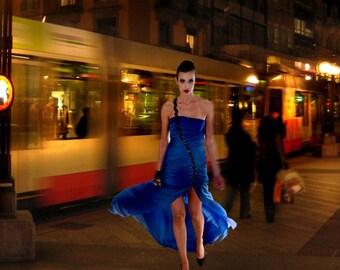 Veronica Reis Blue Silk Asymetric Chiffon Dress Sizes 2-14