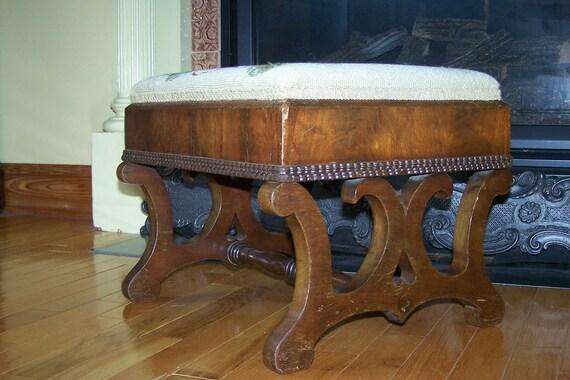 SALE Empire Victorian Era Needlepoint Footstool