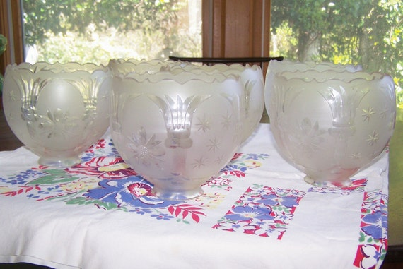 RESERVED for JMS Set Six Antique Cut Glass Large Chandelier Globes