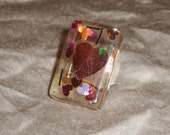 Rectangle resin adjustable ring with heart confetti