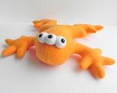 Reserved for Janey: Bright Orange Lenny - Plush 3-Eyed Frog - Mutant Stuffed Animal