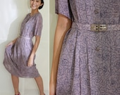 SALE Light Greyish Purple Floral Dress with grey and golden Belt