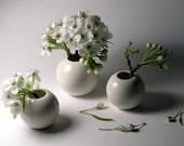 White Porcelain Vases - Extended Set of 3 -  SALE