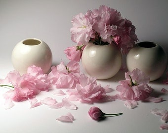 Three White Porcelain Vases