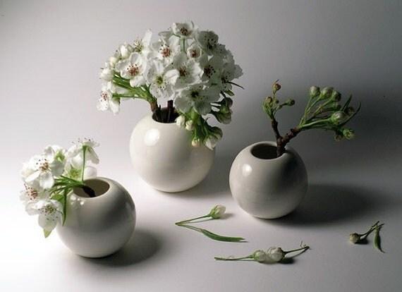 White Porcelain Vases - Extended Set of 3