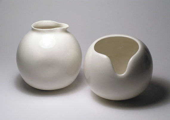 White Porcelain, Uniquely designed Creamer and Sugar-bowl Set - HOLIDAY SALE