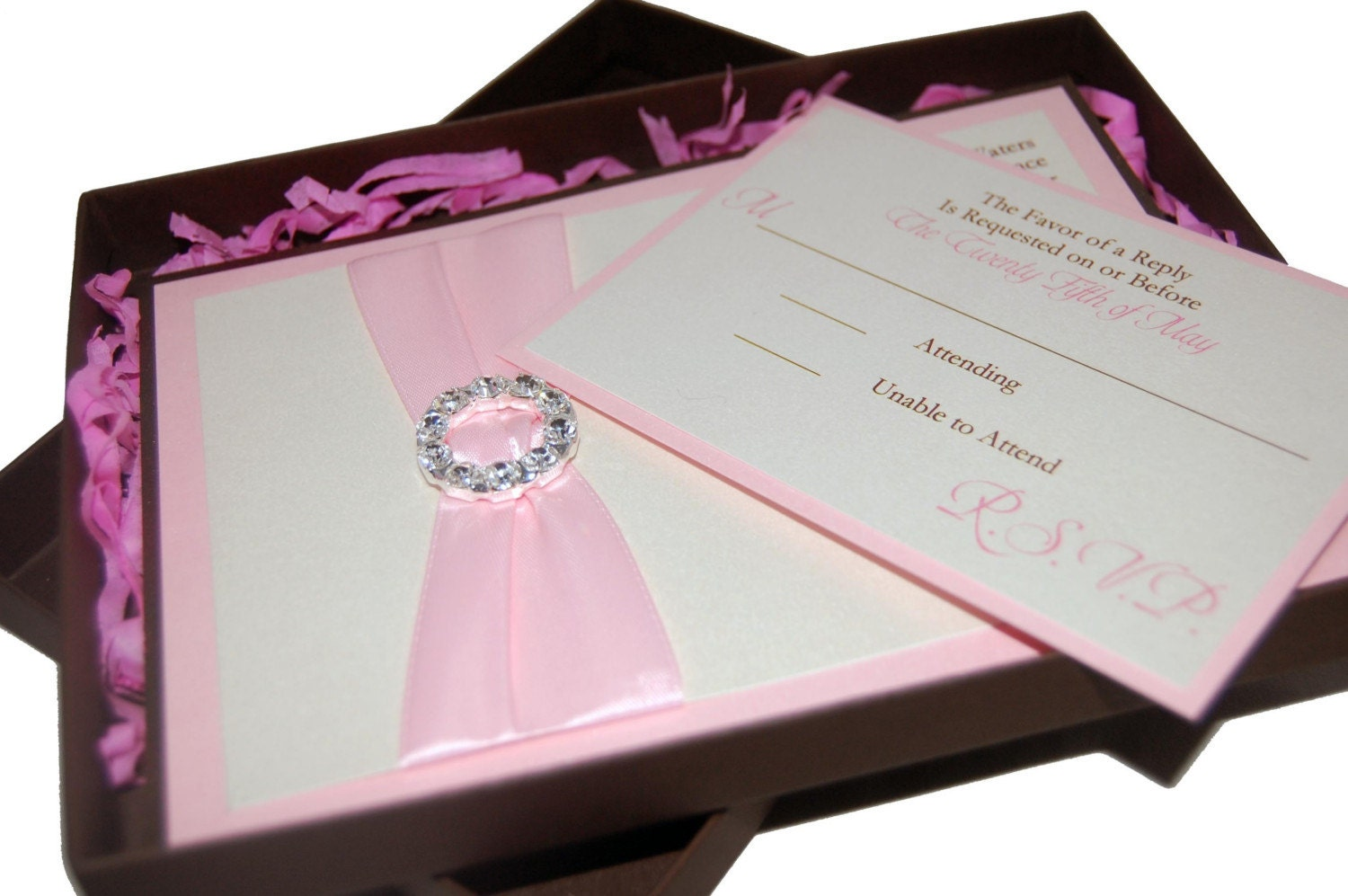 What Should Be Included In A Wedding Invitation: Glitzy Deux Boxed Wedding Invitation RSVP Postage Included