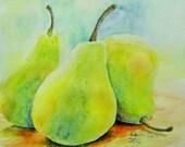 ORIGINAL Three Pears painting original watercolor fruit still life 9X12 SALE