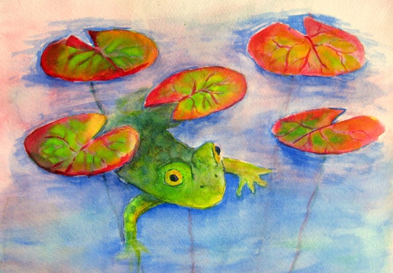 Assorted Fish and Frog Blank Cards 4 note cards print of original pond aquatic fish painting