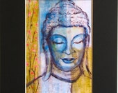 Blossoming Blue Buddha Print 8x10