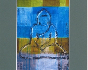 Turquoise Buddha Print 8x10 matted