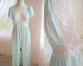 Vintage Nylon Lingerie Robe- Seafoam, Aqua, Light Blue, Green- Soft, Pastel- Lace, Long Robe, Feminine, Romantic, Spring- circa 1970s