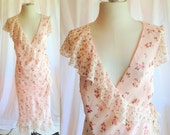 Vintage Pink and White Silk Floral Dress. Feminine. Wrap Dress. Romantic. Pastel. Shabby Chic. Long Dress. Spring. Summer. Size 10. 1990s.