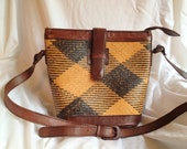 SALE- Vintage Elliot Lucca Handwoven Straw and Leather Handbag circa 70s/80s- brown, tan, rust, Designer Spring Fashion