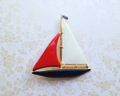 Reserved Vintage Sailboat Pin. Brooch. Nautical. Red. White. Navy. Gold. Ocean. Boat. Summer. Sailor. Fourth of July. Patriotic. USA.