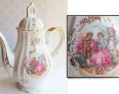 Vintage Porcelain White Teapot. Romantic Victorian Scene. Shabby Chic. Gold. Pink. Floral. Elegant. Home Decor. Pastel. 1970s.