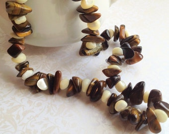 Vintage 1970s Natural Stone Beaded Necklace. Gold. Brown. White. Rustic. Earth Tones. Natural. Statement Necklace. Fall.