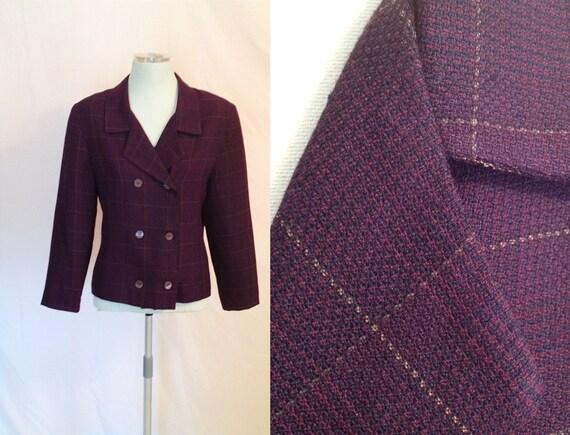 Vintage Eggplant Purple Jacket. Short Jacket. Size 7/8. 1980s. Bold. Structured Jacket. Checked Pattern. Short Coat.