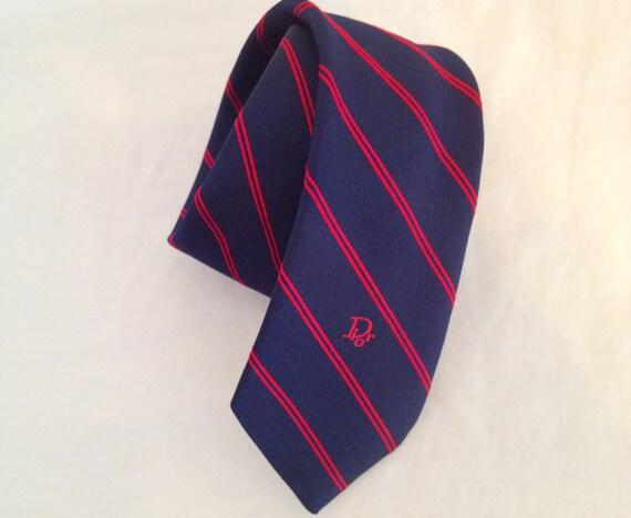 Vintage Men's Christian Dior Necktie. Navy Blue. Red. Striped Necktie. Men's Accessory. 1970s. Designer Accessory.