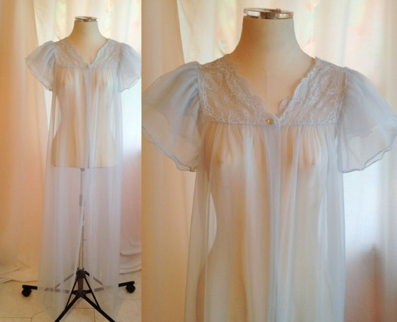 Vintage Sheer Blue Peignoir. Long Nightgown. Lace. Sheer Peignoir. Maxi 1970s. Size Large. Peignoir Nightgown. Romantic. Feminine. Pastel.