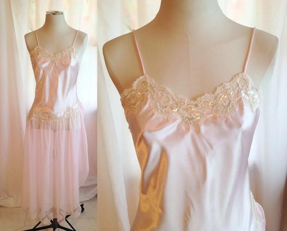 SALE Vintage Light Pink Lingerie Dress. Sheer. Lace. Sequins. Romantic. Shabby Chic. Wedding. Victoria's Secret. Size Large. 1980s.