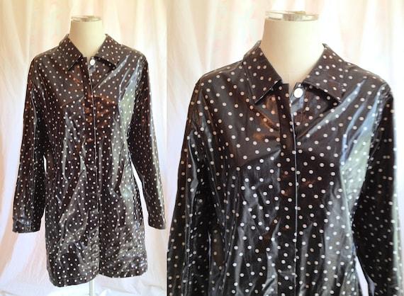 Vintage Black & White Polka Dot Raincoat. Outerwear. Cotton. Classic. Cute Coat. Long Jacket. Size Large. Lightweight Jacket. 1980s.