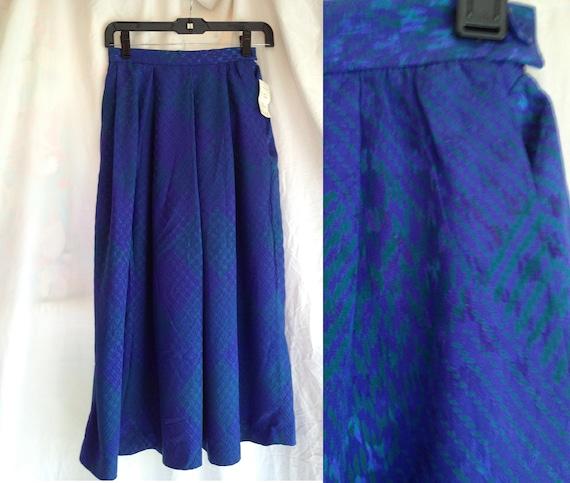 Vintage Cobalt Blue and Green Silk Skirt. Maxi Skirt. Long Skirt. Designer Fashion. Size 2. Size Small. 1980s. Carlisle.