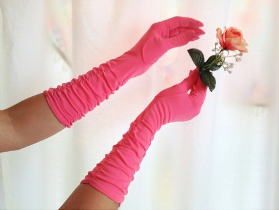 Vintage Bright Pink Gloves. Long Gloves. Dainty. Romantic. Feminine. Fuchsia. Macy's. Prom. Wedding. Formal. Accessory.